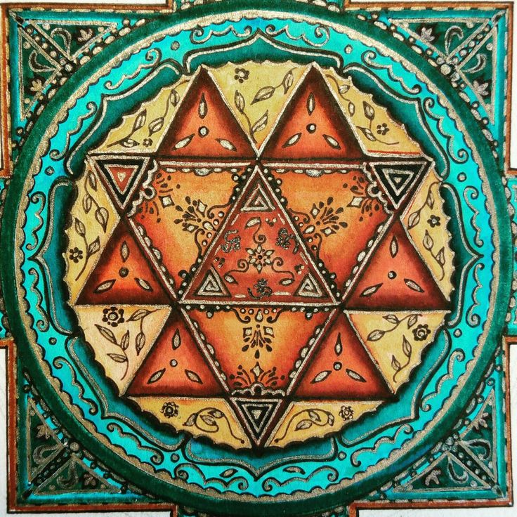 mandala goddess durga yantra hand drawn peace love happiness spirituality meditation☺