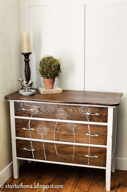 Using different stains is an often neglected way of giving colour to an upcycled unit but as with this chest of drawers, its subtle and smart and gives a contemporary, cohesive look.