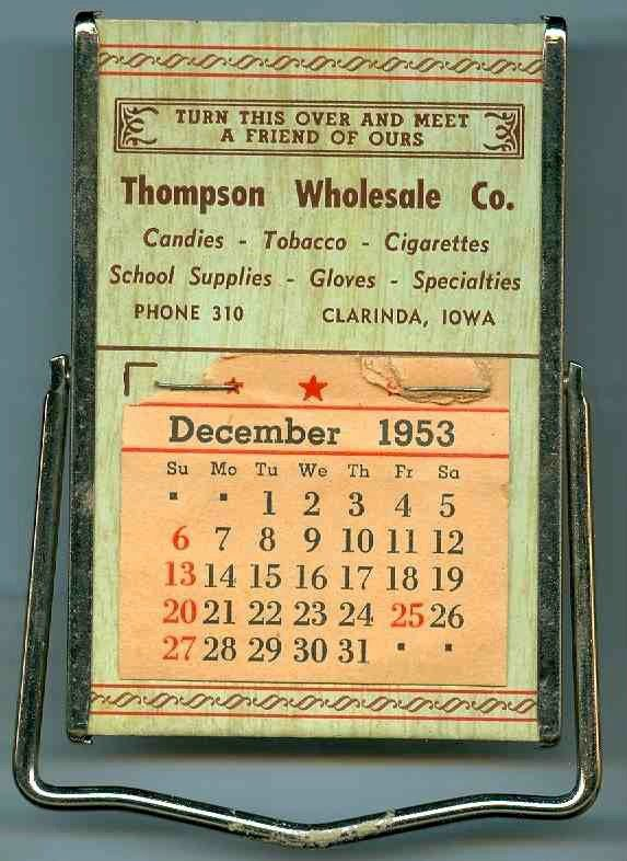 Vintage 1953 Clarinda Iowa Advertising Desk Calendar Mirror | eBay