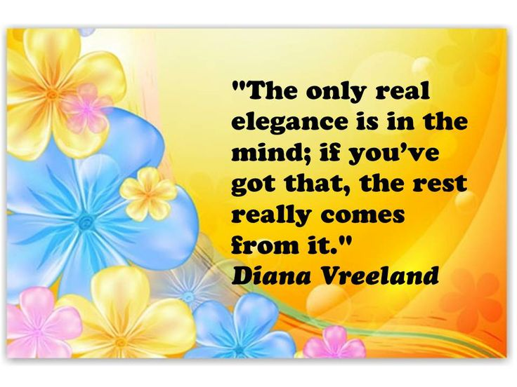 the only real elegance..