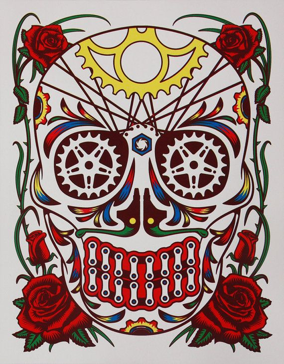 Dia de la Bicicleta  Bicycle Sugar Skull by BicyclePrinter on Etsy