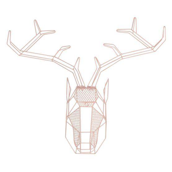Kate and Laurel Orbie Geometric Mounted Deer Head Wall Sculpture