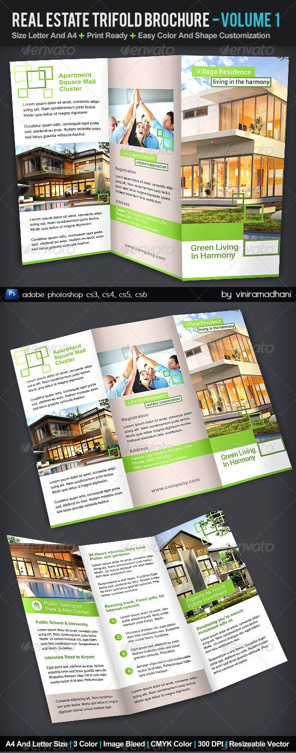 how to design a brochure in photoshop - real estate trifold brochure volume 1 photoshop psd