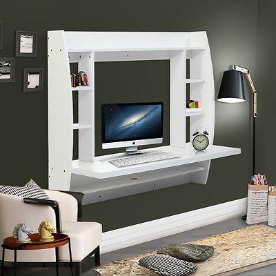 Wall Mount Floating Computer Desk Laptop Table W/Storage Shelves Bedroom WH