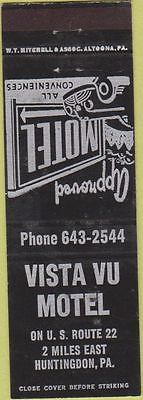 Matchbook Cover - Vista Vu Motel Huntingdon PA