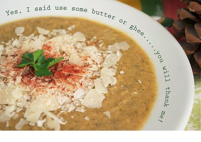 Roasted Cauliflower Broccoli Pureed Soup Recipe