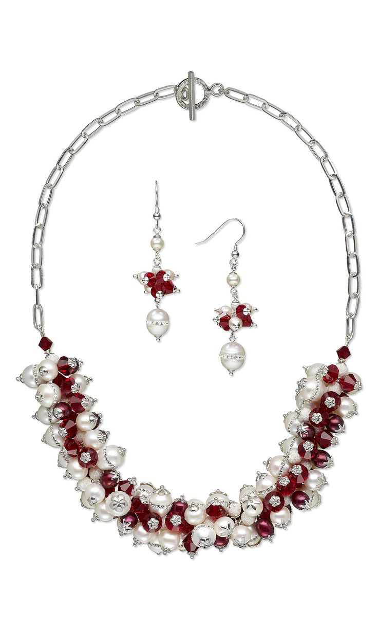 jewelry design single strand necklace and earring set with swarovski crystal beads cultured