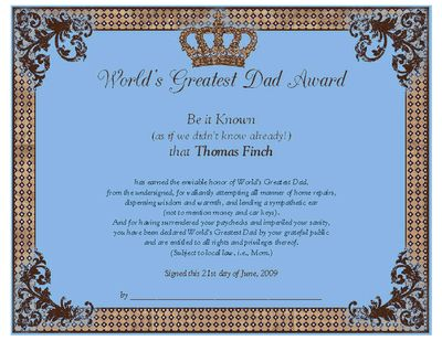 World's Greatest Dad Award Certificate - Father's Day Printable Card | American Greetings