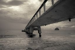 """Sea Pier, From """"about one pier"""" giclee photo series, Sepia Tone Photography Prints, Seascape Poster"""