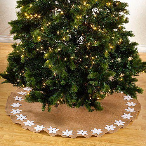 f51db5317 Fennco Styles Felicia Poinsettia Burlap Holiday Christmas Tree Skirt53 Tree  Skirt White * Click for Special