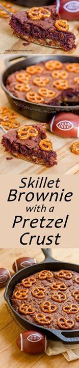 Skillet Brownies wit Skillet Brownies with Pretzel Crust: this...  Skillet Brownies wit Skillet Brownies with Pretzel Crust: this tailgating snacks month dessert is totally worthy of tailgating and football parties I mean youve got a big pretzel cookie crust topped with an espresso bittersweet brownie all baked in a skillet. Nosh on! Recipe : http://ift.tt/1hGiZgA And @ItsNutella  http://ift.tt/2v8iUYW