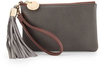 Neiman Marcus Colorblock Faux-Leather Tassel Wristlet, Slate/Mauve #1010ParkPlace