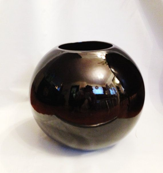 Huge Black Glass Round Vase Planter Hollywood Regency