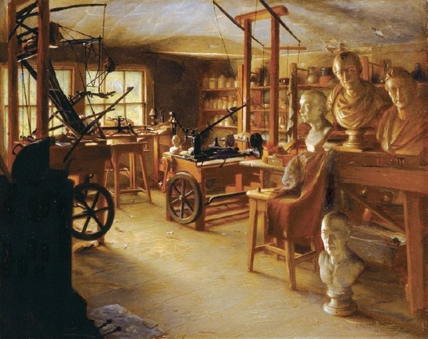 Aesthetically, I like the stark black machinery against the almost luminescent brown of the wood.    This is the workshop of James Watt, who, unlike Thomas, was big into ceramics. Replace these with clockwork gadgetry and half finish mechanical automata. setting-thomas-whyt-s-workshop