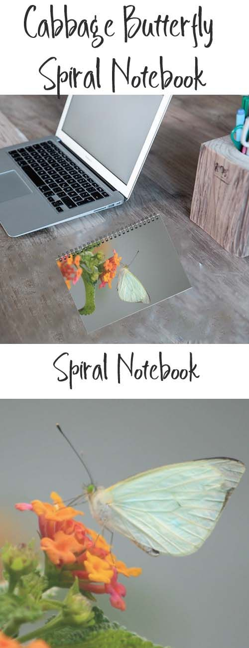 A spiral notebook with an image of a Cabbage Butterfly. Buy it here: https://www.redbubble.com/people/rhamm/works/10765277-cabbage-butterfly-on-a-flower?asc=u&p=spiral-notebook&rel=carousel