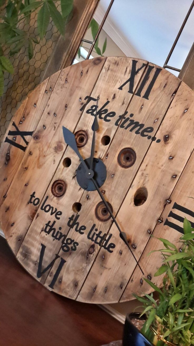 "30"" Wood spool clock"