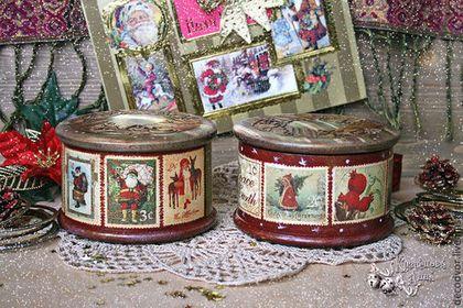 """Набор шкатулок """"Винтажные марки"""" - набор шкатулок,новогодний сувенир,рождественский подарок"""