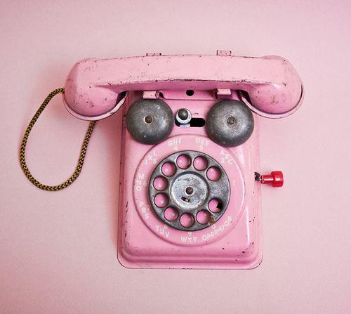 Pink telephone. Vintage