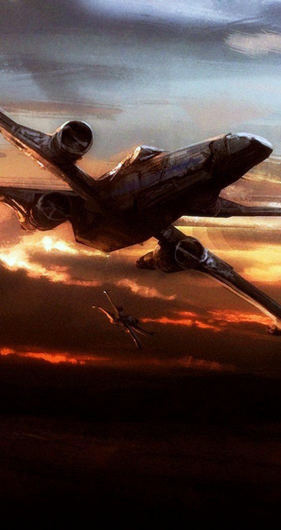 X-wing at dusk