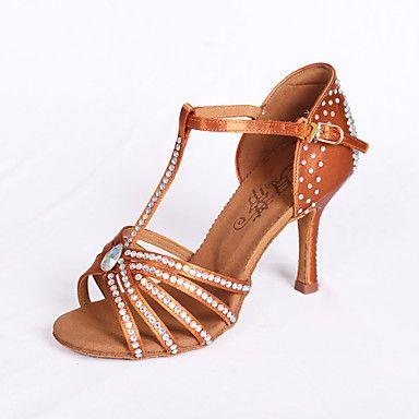 Non+Customizable+Women's+Dance+Shoes+Latin/Salsa/ballroom+Satin+Flared+Heel+7.5cm+Heel+Height+Brown++–+AUD+$+45.75