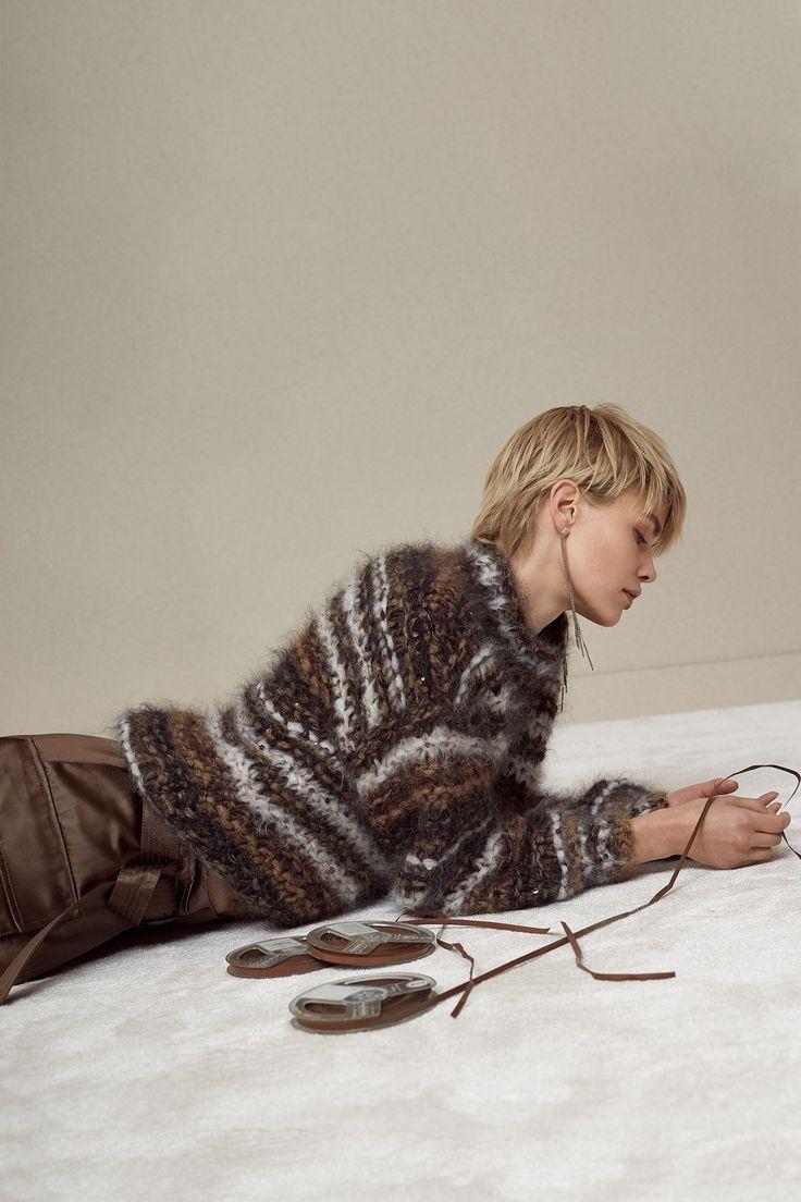 Brunello Cucinelli furry stripe sweater