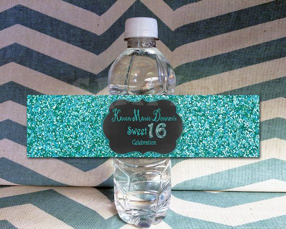Get these SWEET turquoise glitter & chalkboard themed water bottle labels! Impress your guests or decorate your tables with these beautiful