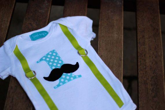 "First Birthday Mustache Onesie Lime Green Aqua Dot Black Baby Boy ""1"" Little Man Mustache Party"