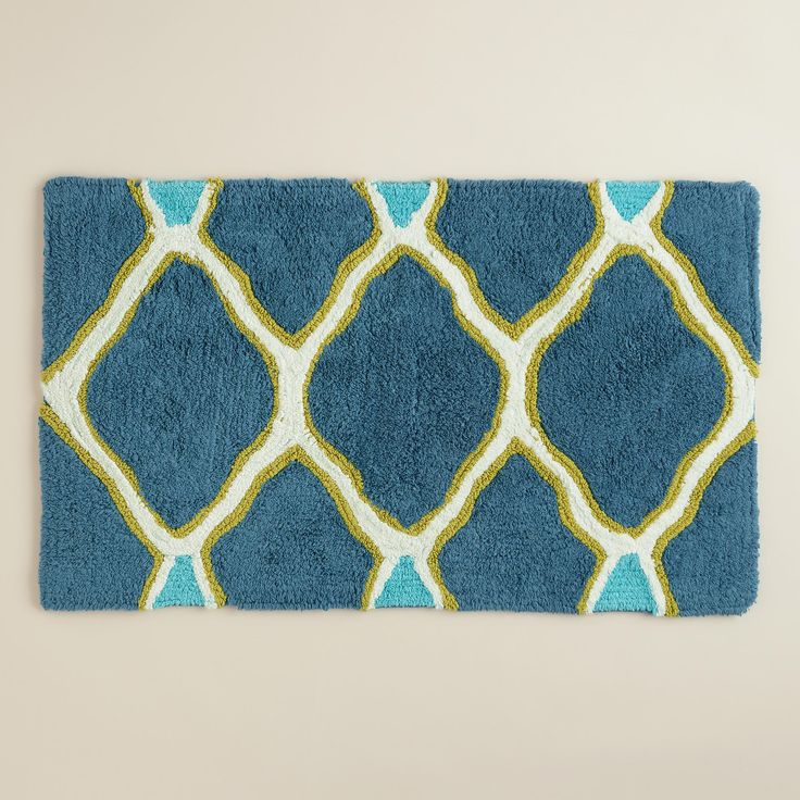 Best Bathroom Images On Pinterest Bathroom Ideas Art Deco - Blue bath mat for bathroom decorating ideas