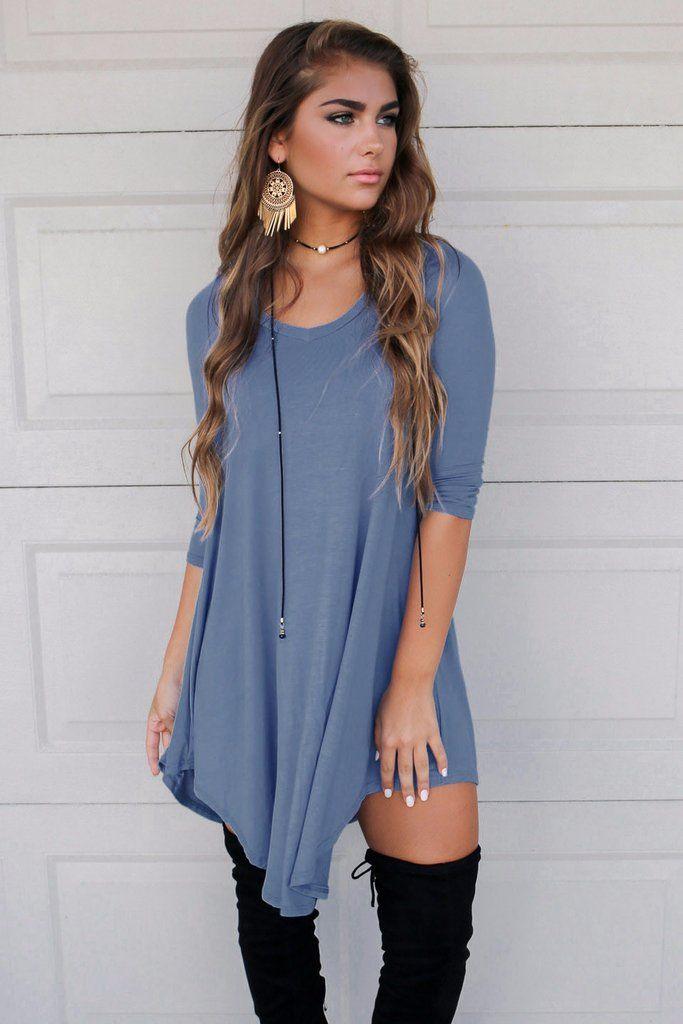 Maybe Baby Midnight Blue V-Neck Quarter Sleeve Dress