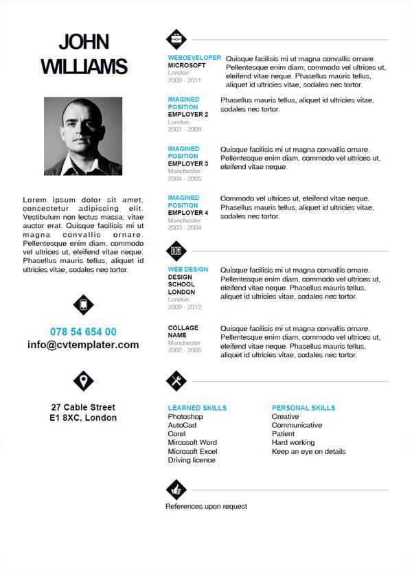 70 best cv images on resume ideas cv design