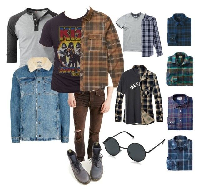 Nick (Freeks and Geeks) Grunge by lavinia-brams on Polyvore featuring polyvore Billabong Jack of All Trades Gap L.L.Bean Reigning Champ Uniqlo BOSS Orange Levi's Topman AORON Dr. Martens men's fashion menswear clothing outfit grunge 90s male