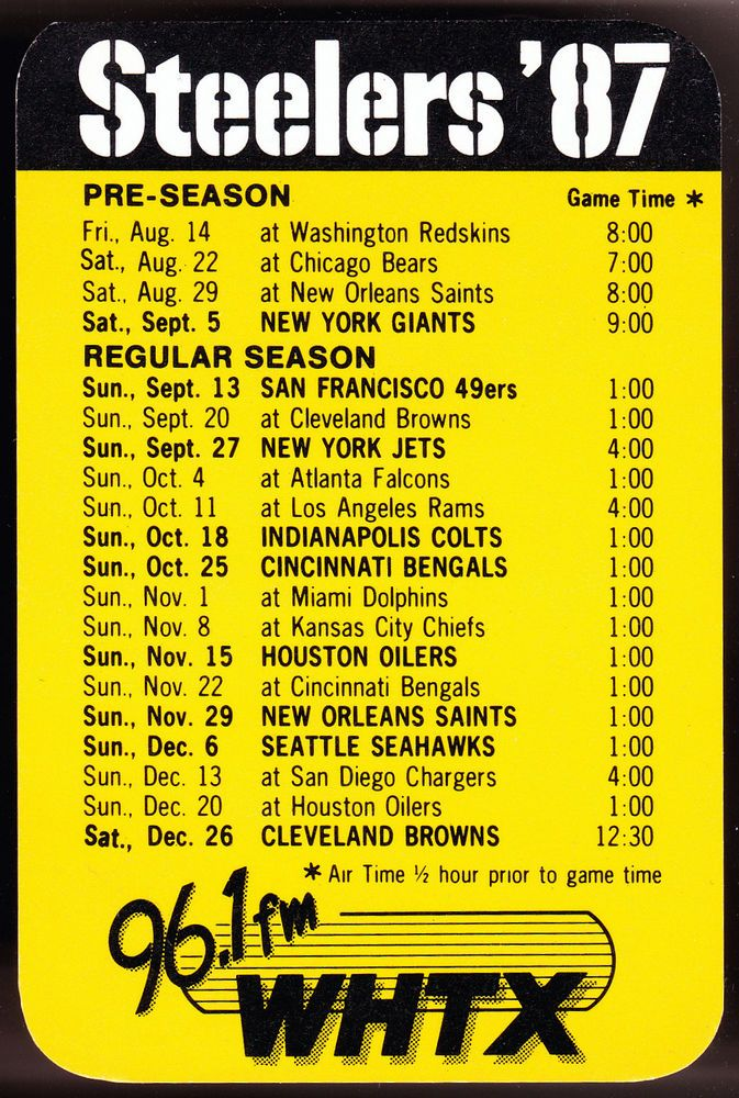 1987 PITTSBURGH STEELERS WHTX FM RADIO FOOTBALL POCKET SCHEDULE FREE SHIPPING #Pocket #SCHEDULE