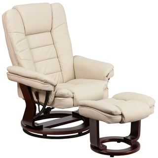 Shop for Etin Beige Leather Mahogany Wood Swivel Recliner and Ottoman Set. Get free delivery at Overstock.com - Your Online Furniture Shop! Get 5% in rewards with Club O! - 22730003