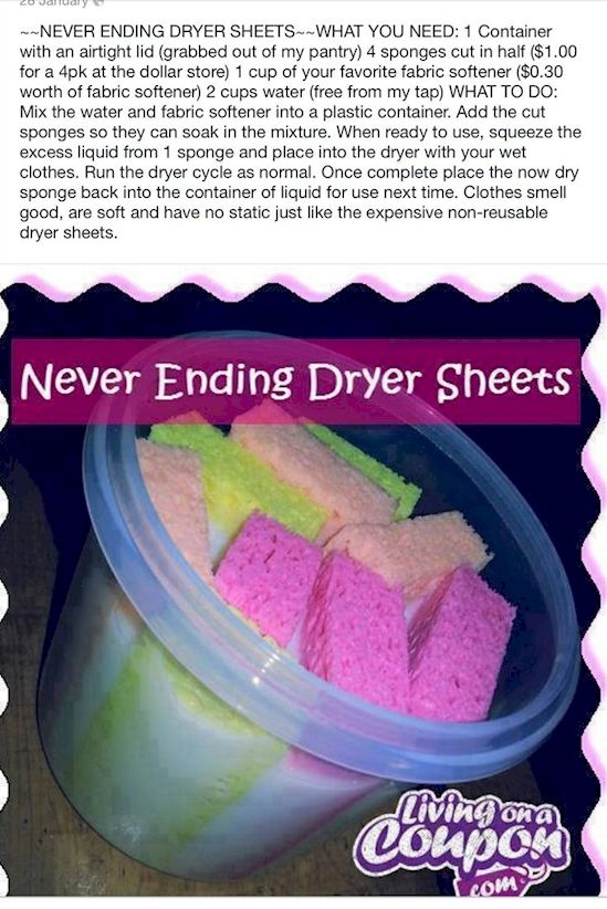 Life hack! DIY Never Buy Dryer Sheets Again! Dryer sheets are expensive and a huge problem for the environment. Ever wonder where those little white sheets go after you toss them? That's right, landfill. This is a great way to help the environment while helping yourself smell and feel soft all day long. #diy #dryersheets #ecofriendly