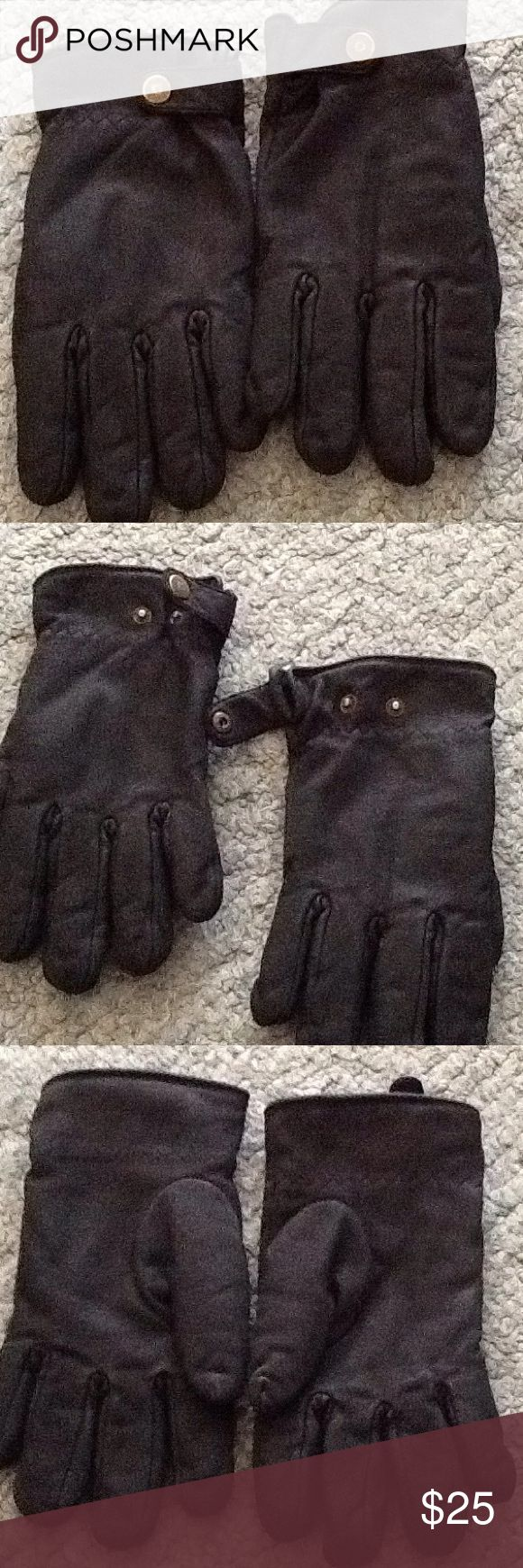 Size XL all leather black gloves Size XL all leather Thinsulate, thermal insulation black gloves in great condition. Great for cold climate ,Just cleaned ready to be used Thinsulate Accessories Gloves