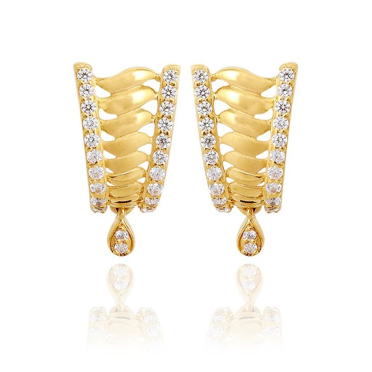 Earrings | 22KT Twisted Dew Drop Gold Earrings | GRT Jewellers