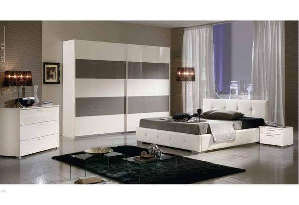 Chambre adulte design dossone coloris blanc et fango for Chambre complete blanc laque