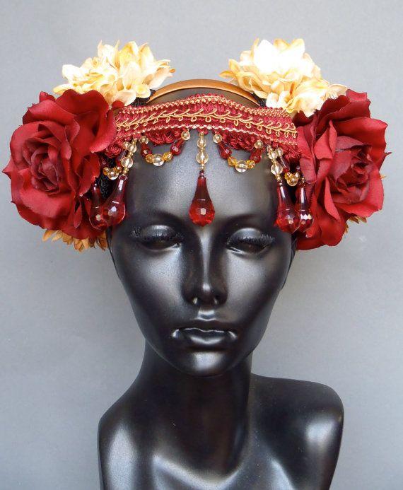 Red & Ivory Flower Headpiece by MissGDesignsShop on Etsy, $150.00