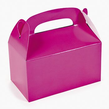 Hot Pink Meal Munch Treat Box :  These vivid containers are perfect for filling with celebration goodies or small gifts.  Boxes come with handles for easy carrying. 15.9 cm x 8.89 cm x 15.2 cm (incl handles)