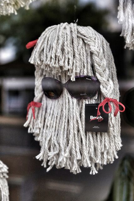 Optician window display made from mops made me chuckle, very creative use of a mop | Flickr - Photo Sharing!