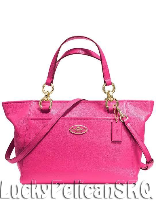NEW COACH 35030 MINI ELLIS TOTE SATCHEL PEBBLE LEATHER Light Gold/Pink RubyNWT #Coach #TotesShoppers