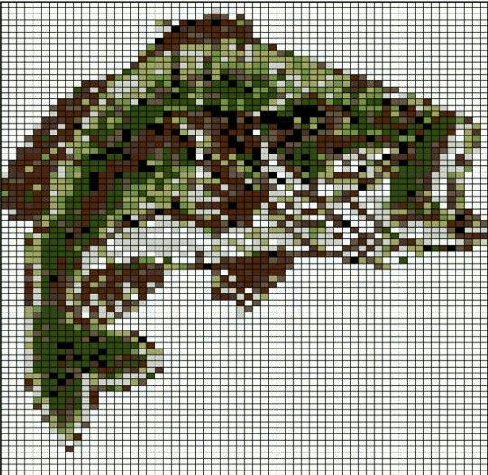 Large Mouth Bass Fishing C2c Crochet Graphghan Graph