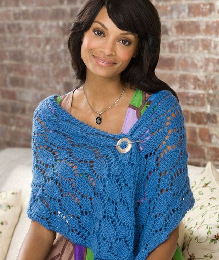 Free Knitting Pattern for Samantha's Shawl - #ad Lace wrap designed by Sam Leaver for Red Heart.tba mtf