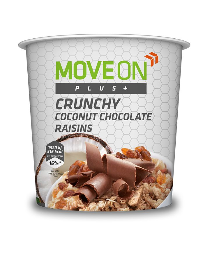 Musli ziarna, czekolada, kokos i rodzynki 70g. | Crunchy high in dietary fiber - coconut, chocolate , raisins and green tea flavour. #moveon #moveonpl #moveonsport #crunchy #granola #oatmeal #coconut #raisins #chocolate #food #healthy #diet #sport #athlete #fiber #protein #nutrition #vitamins