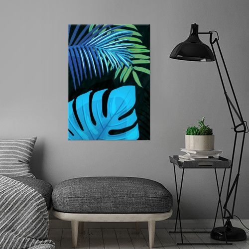 TROPICAL LEAVES & BLACK no3c. Colorful Palm Leaves on black background. Vector & Mixed Media. ©5-2017 by Pia Schneider, atelier COLOUR-VISION. #art #tropical #exotic #piaschneider #displate #leaves #plants #palm
