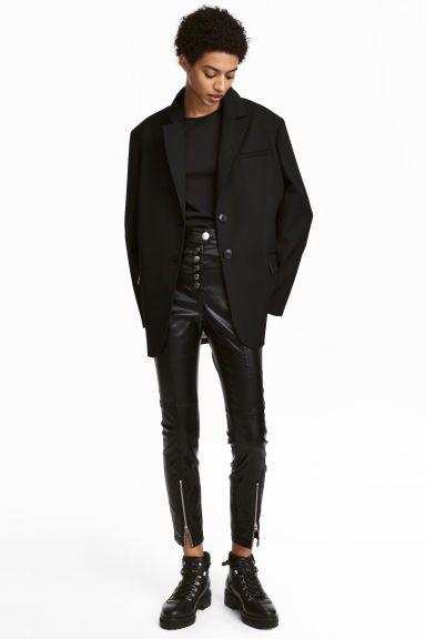 Pantaloni elastici cu peliculă - Negru/peliculizat - FEMEI | H&M RO