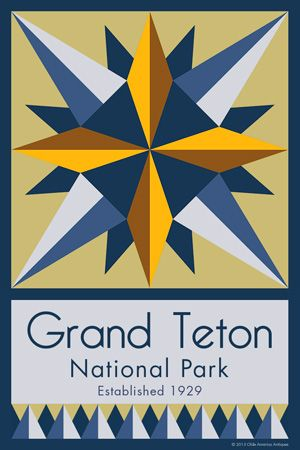 Grand Teton National Park Quilt Block designed by Susan Davis. Susan is the owner of Olde America Antiques and American Quilt Blocks She has created unique quilt block designs to celebrate the National Park Service Centennial in 2016. These are the first quilt blocks designed specifically for America's national parks and are new to the quilting hobby.