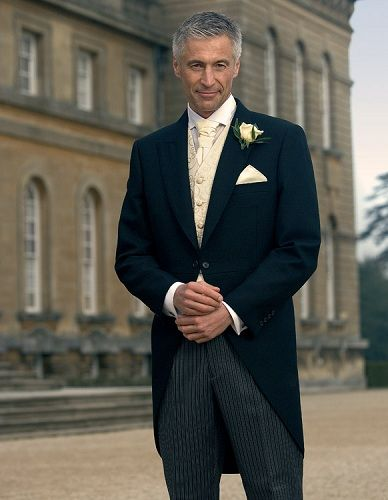 Men's suits - navy tailcoats with ivory and gold
