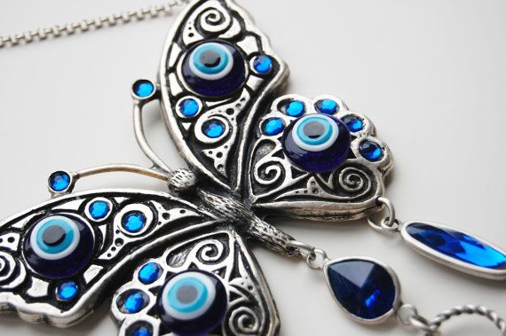Butterfly Wall Hanging Amulet Handmade Turkish by TheGrandBazaar, $25.00