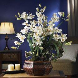 Large Cymbidium Silk Flower Arrangement - 13904424 - Overstock.com Shopping - Great Deals on Nearly Natural Silk Plants